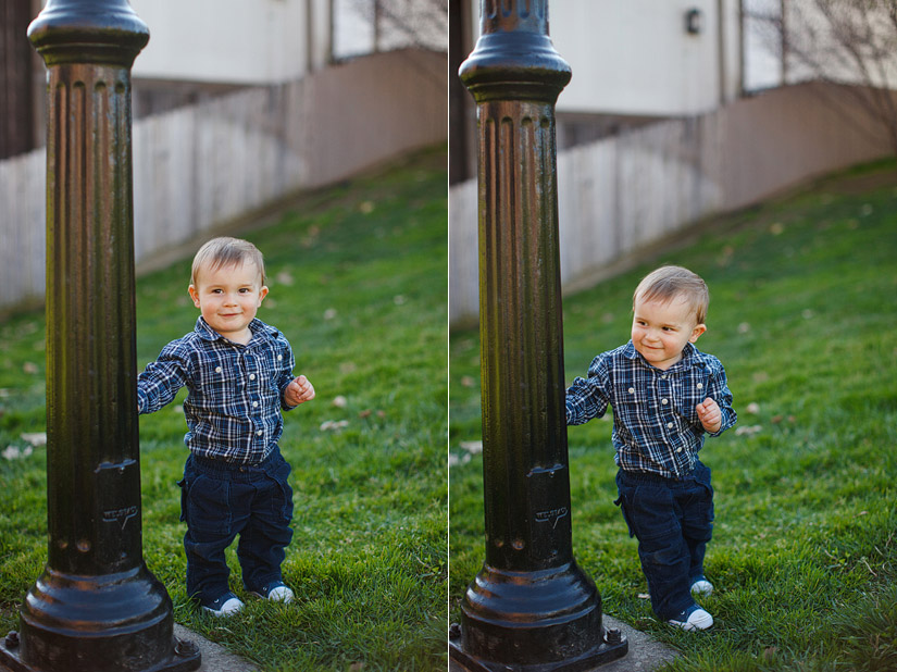 luke holding onto a pole during his portrait photography session