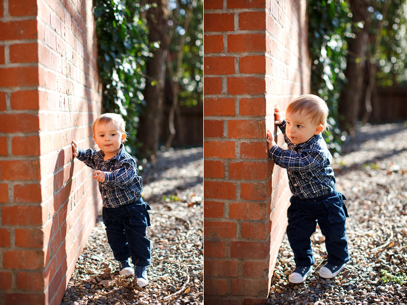 Luke playing on a wall, sacramento portrait photography