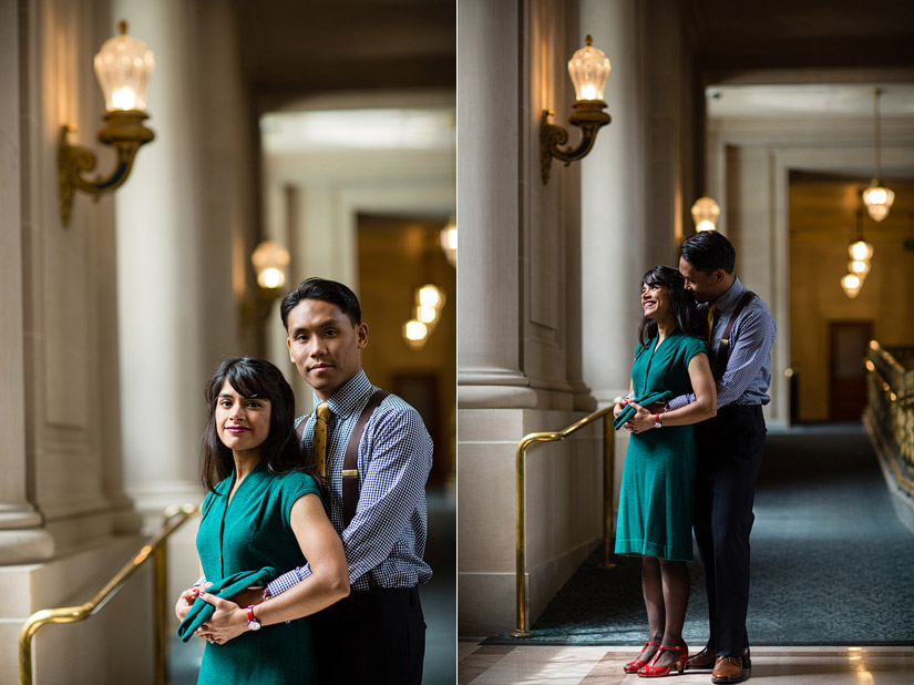 san francisco city hall engagement photo of puja & john holding each other