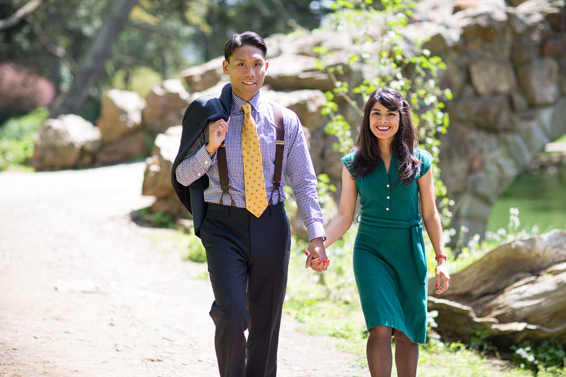 golden gate park engagement photos of puja & john walking