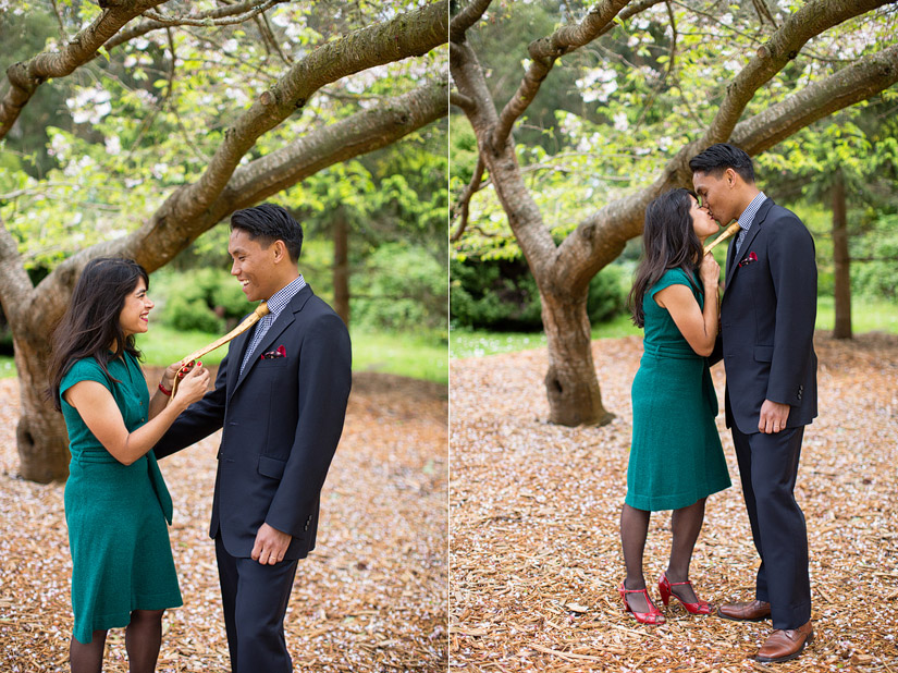 golden gate park engagement photo of puja & john playing around