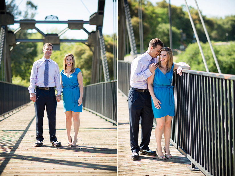 folsom engagement photo of erin and david on the bridge