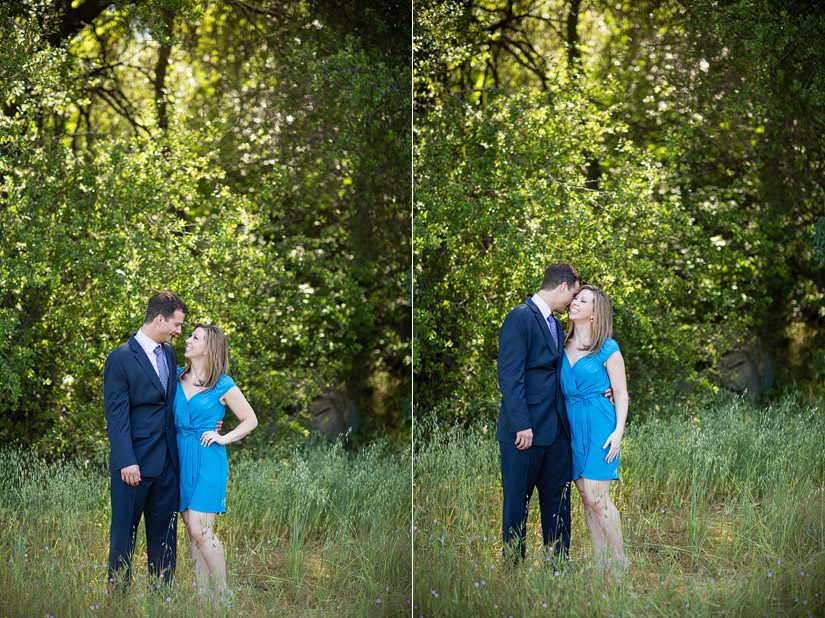 folsom engagement photos in a grassy field