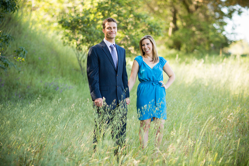 folsom engagement photography in a grassy field of erin and david