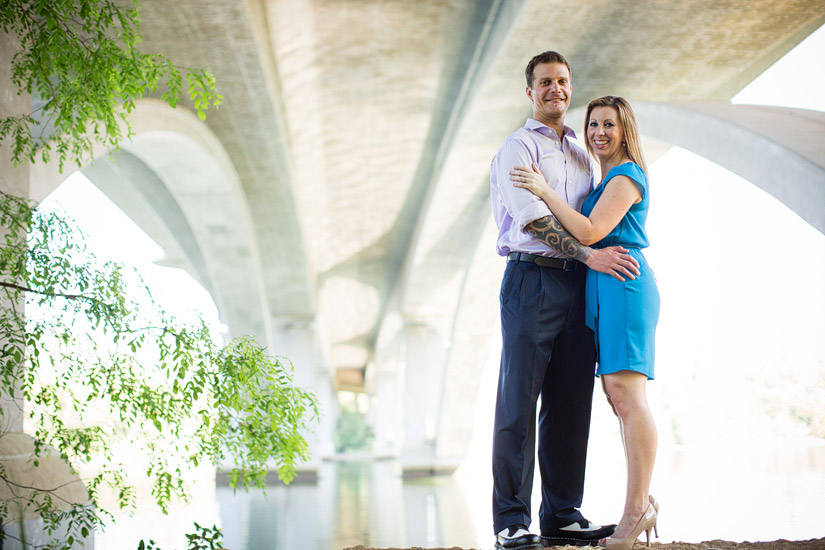 old folsom lake natoma engagement of erin and david under the bridge