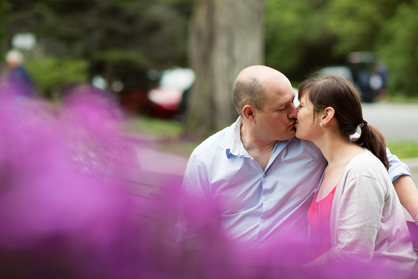 golden gate park engagement photo of abby and craig kissing