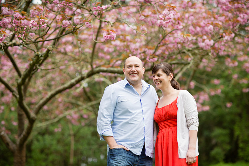 golden gate park engagement photos of abby and craig by cherry blossoms