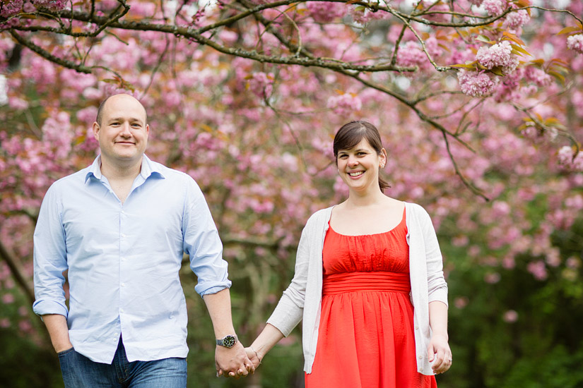 golden gate park engagement photo of abby and craig by cherry blossoms