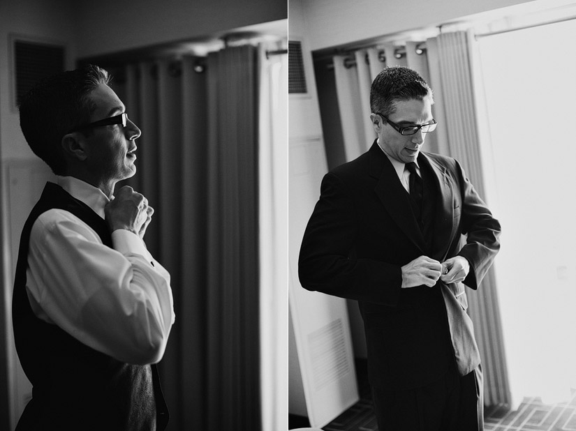 hyatt sacramento wedding photography, john getting ready for the wedding