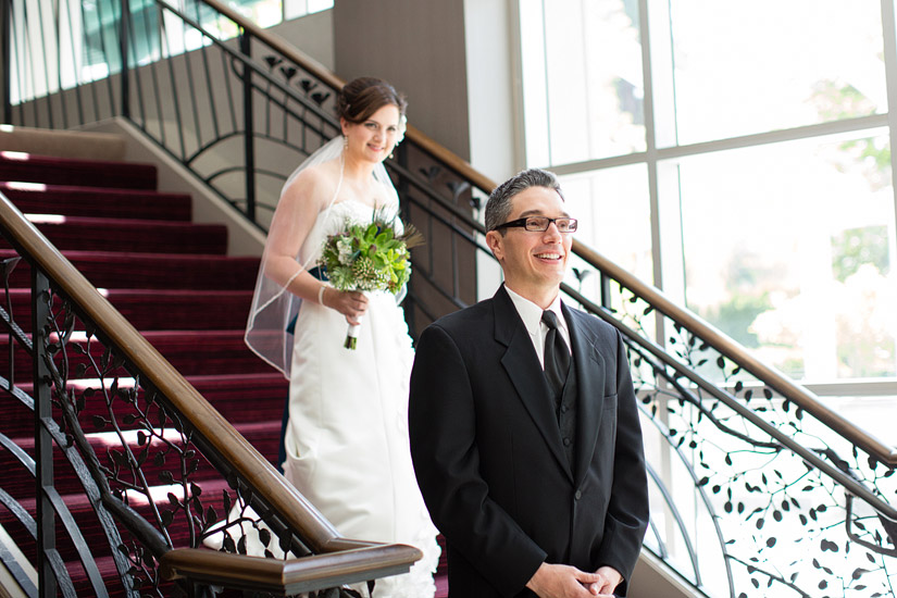 hyatt sacramento wedding photography, brenda & john's first look
