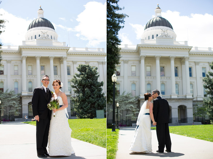 sacramento capital wedding photos, brenda & john kissing