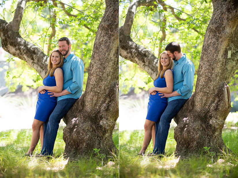 uc davis engagement photos of veronica & scott leaning on a tree