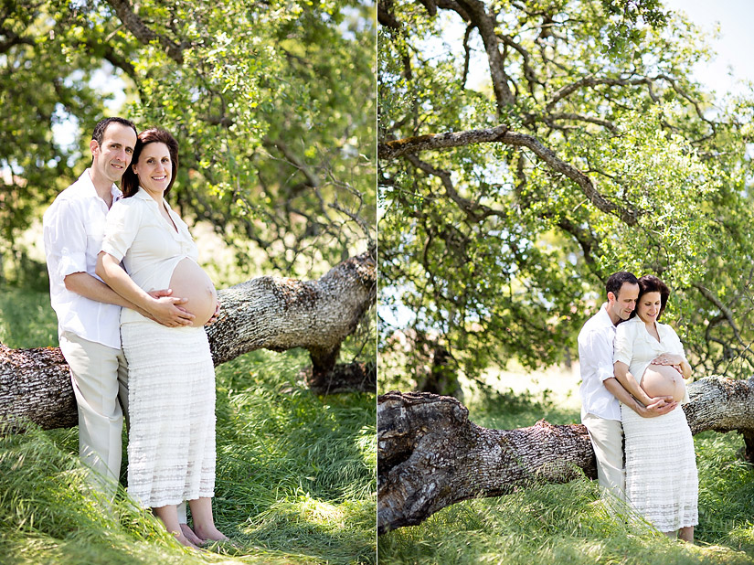 folsom maternity photography of amanda and eric sitting on a oak tree