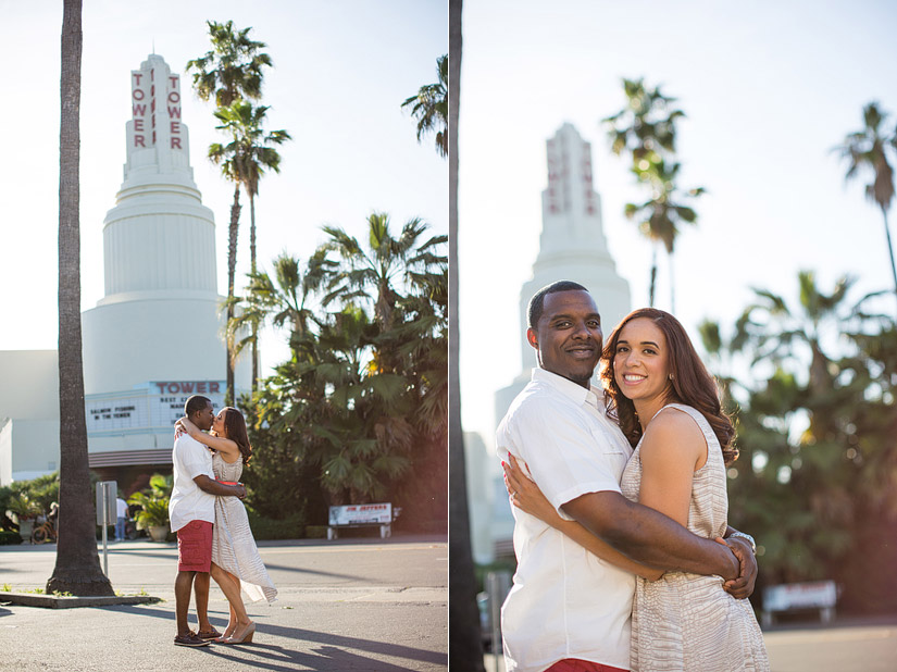 sacramento engagement photos of cassie and brandon at tower theater