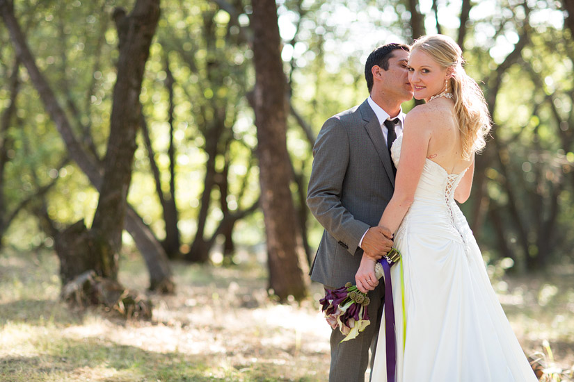 placerville wedding photographer of rita and adam kissing