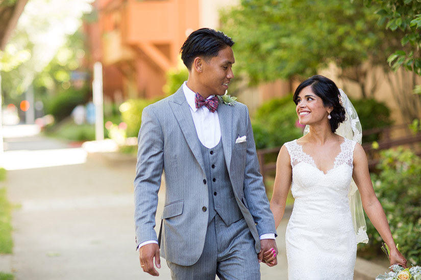 wedding photography sacramento of puja and john paul walking photos