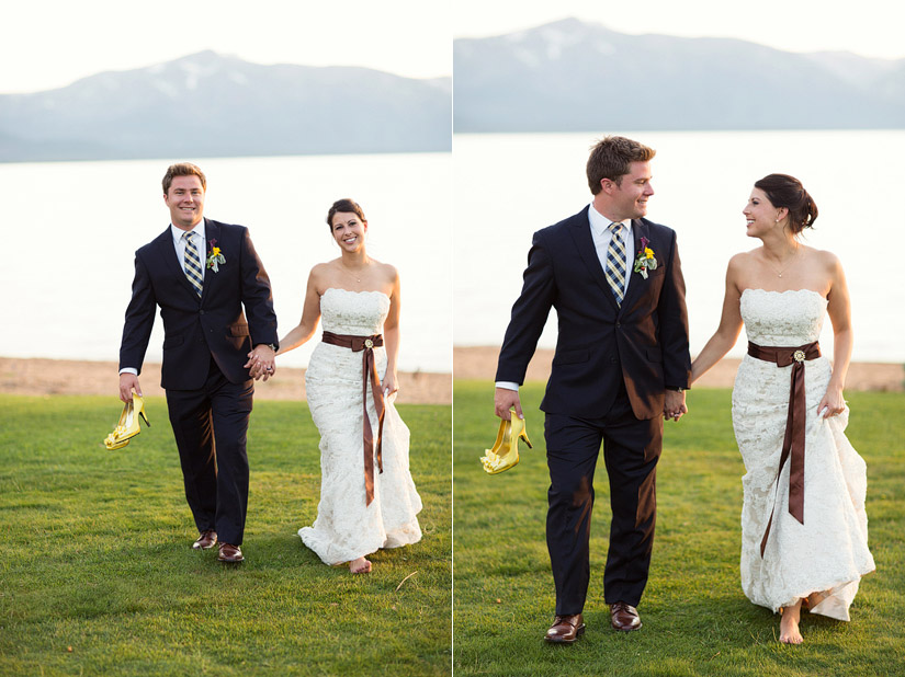 edgewood wedding photo of andrea & joe at sunset on lake tahoe