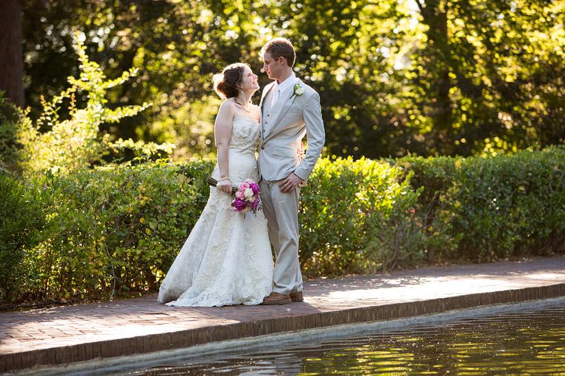 reflection pool wedding photos