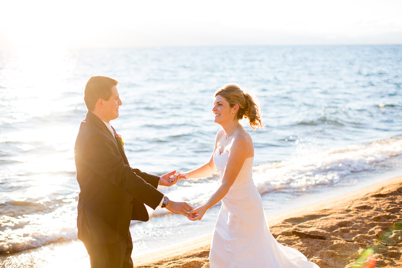 lake tahoe beach wedding at edgewood