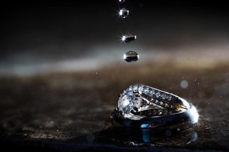 wedding ring and rain drops