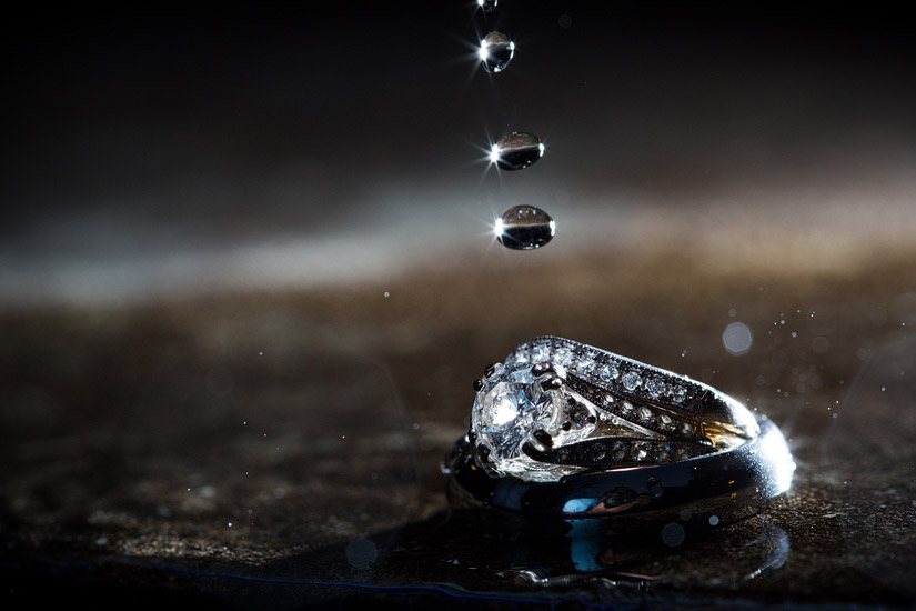 wedding ring and rain drops