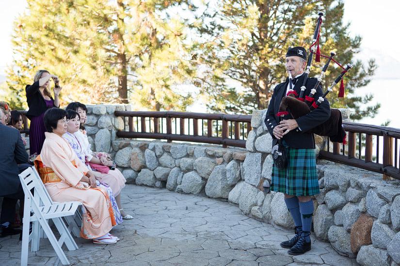 lake tahoe bag pipers at a wedding