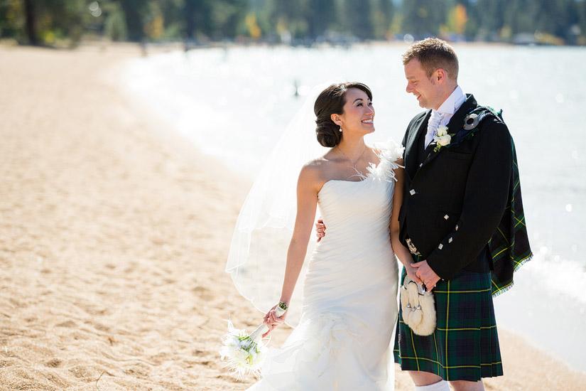 south lake tahoe beach wedding photos