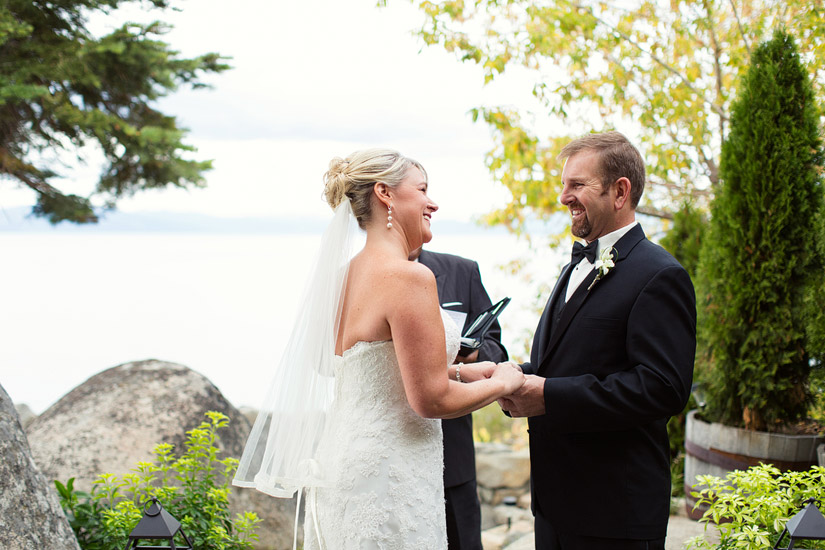 lake tahoe beach wedding ceremony