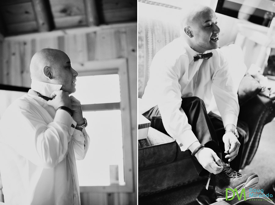 james getting ready for his wedding at a zephyr cove resort cabin