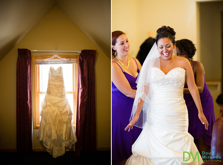 theresa getting in her wedding dress at one of the cabins at zephyr cove resort