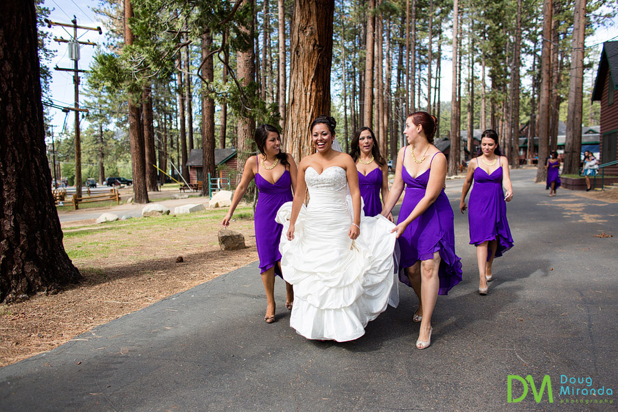 theresa and her bridesmaids walking to her zephyr cove wedding
