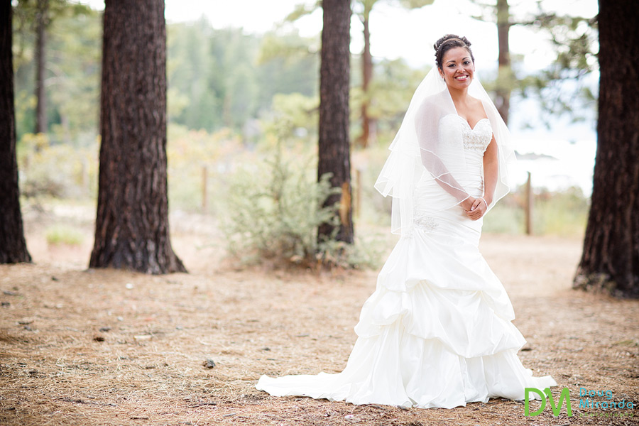 a stunning bridal portrat of theresa in the woods in lake tahoe