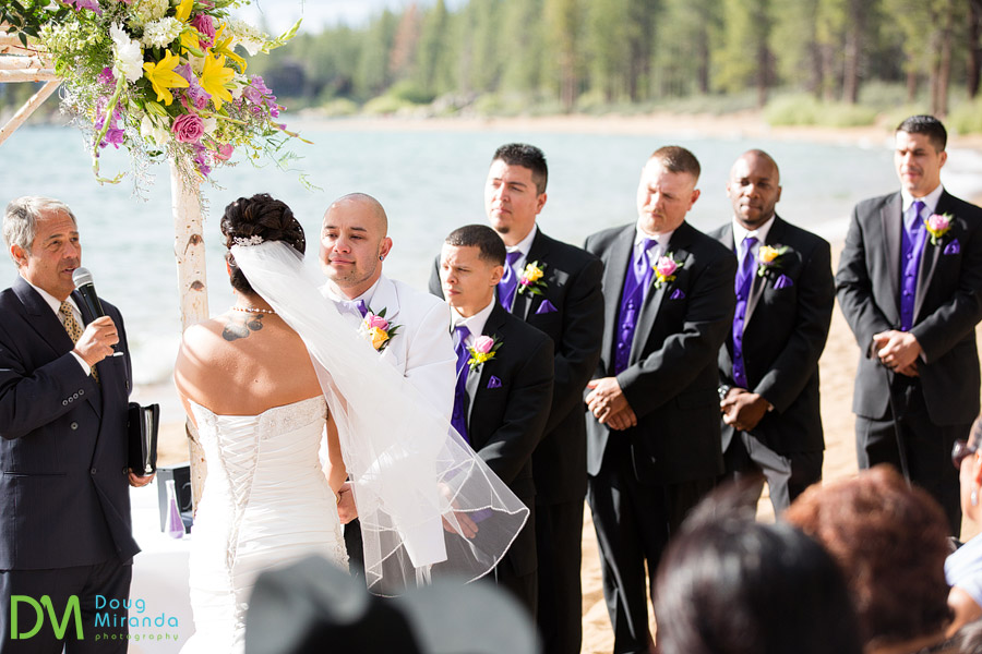 james and all his groomsmen lined up during the wedding ceremony