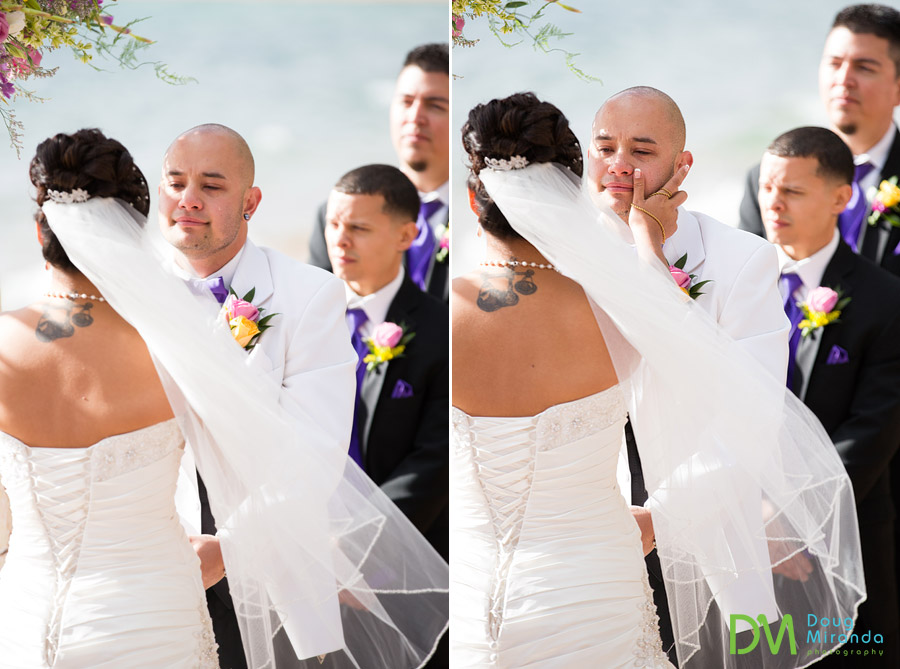 theresa whipping a tear off of james face during the wedding ceremony