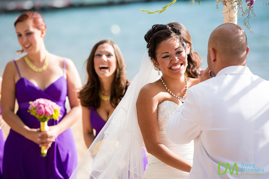 theresa laughing at what james said during their zephyr cove wedding