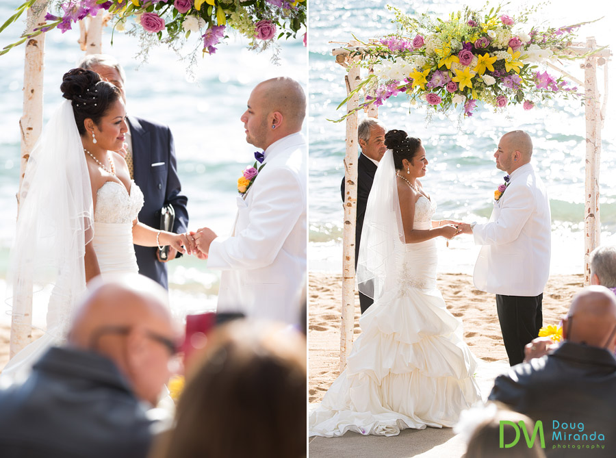 james and theresa placing their wedding rings on each other at zephyr cove resort