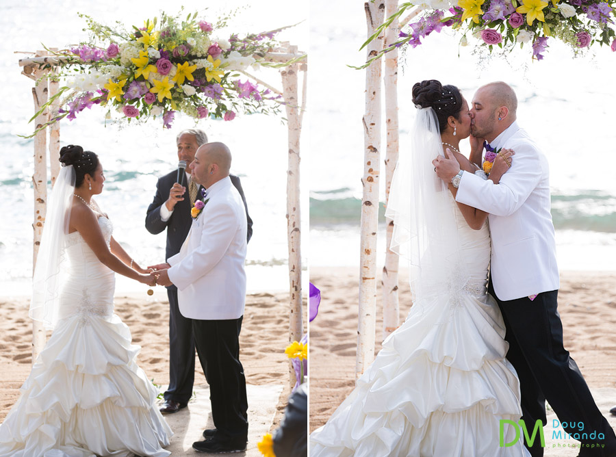 theresa and james kissing at the end of their zephyr cove wedding