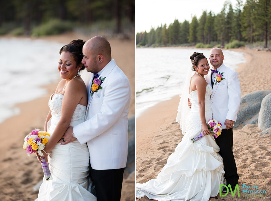 a cute wedding couple cuddling on the shores of lake tahoe