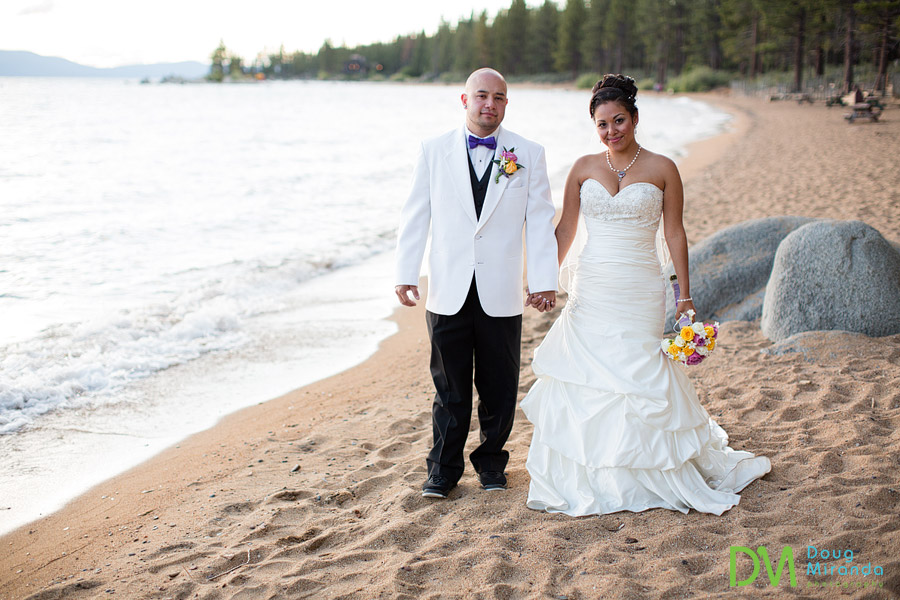 theresa and james holding hands at zephyr cove resort
