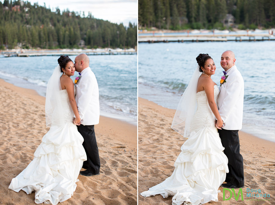 james kissing theresa after their wedding at zephyr cove