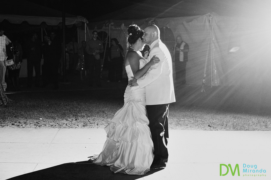 a wedding couple hugging during their first dance at zephyr cove resort lake tahoe
