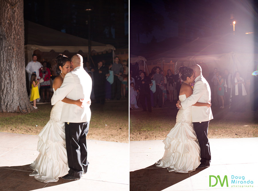 a wedding couple dancing their first dance at their zephyr cove wedding