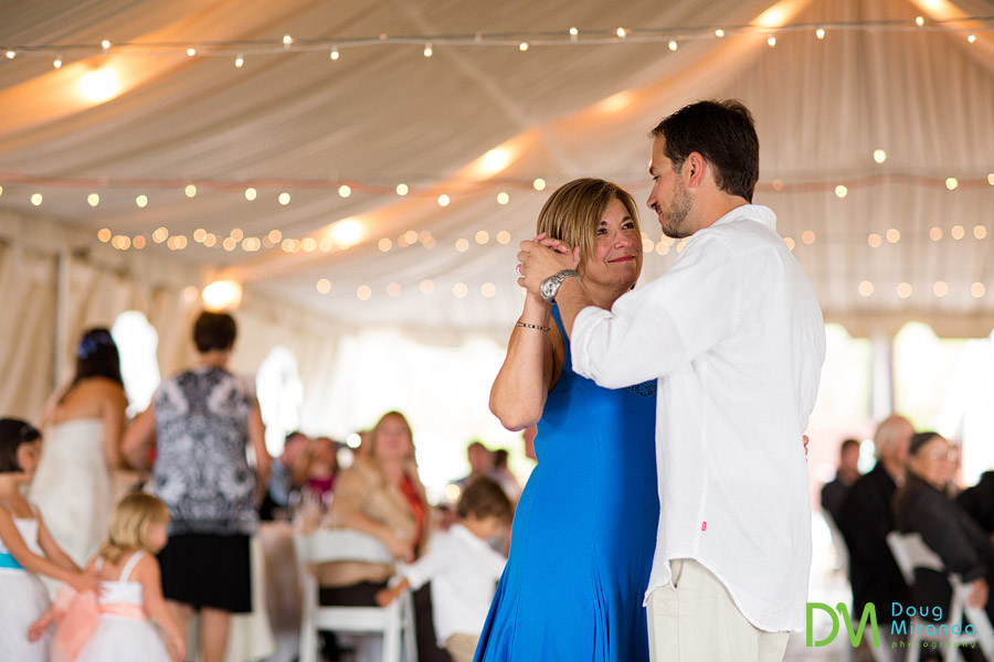 george dancing with his mother on his wedding day at zephyr cove