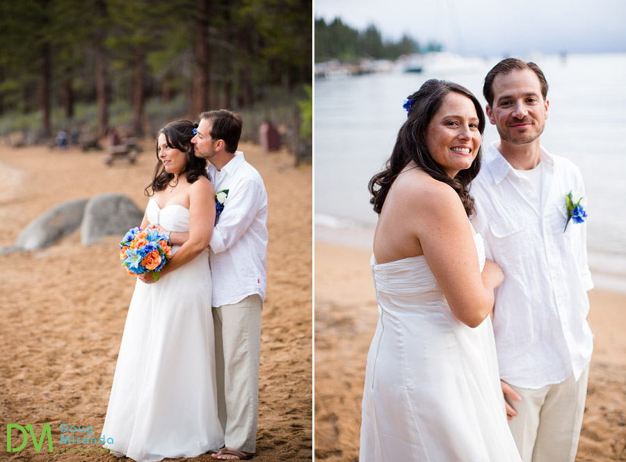 angela and george cuddling for their zephyr cove wedding photos