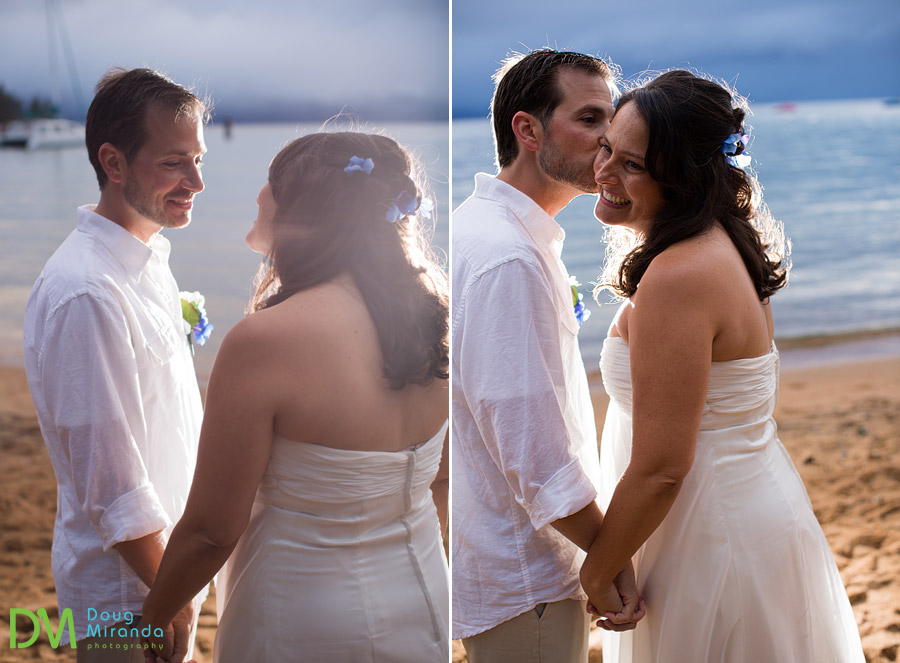 george and angela kissing and hugging for their wedding photographer