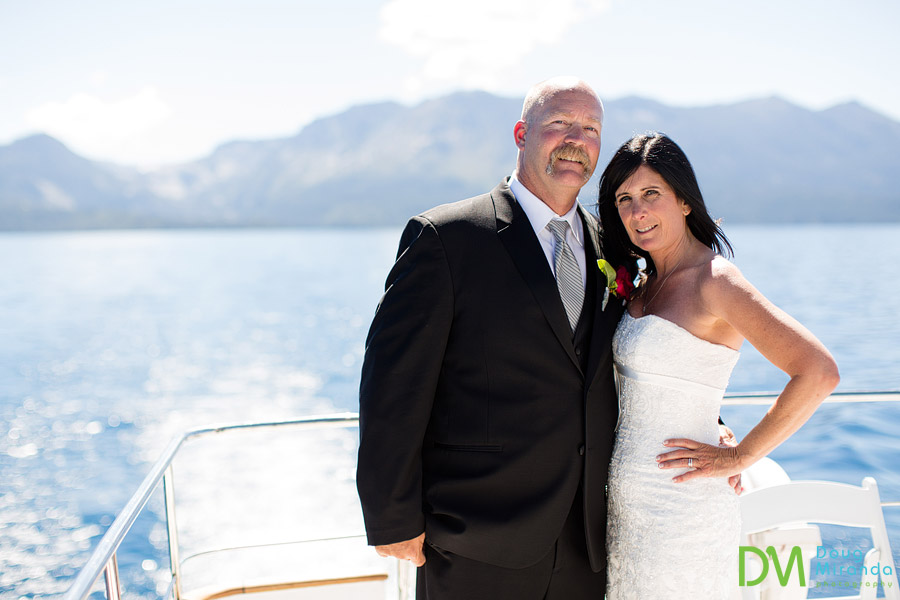 Kelly and mike on the bleu wave yacht for their wedding