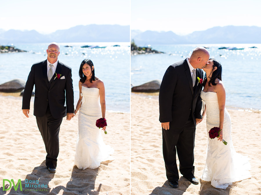 bleu wave tahoe weddings photos of a couple on the beach