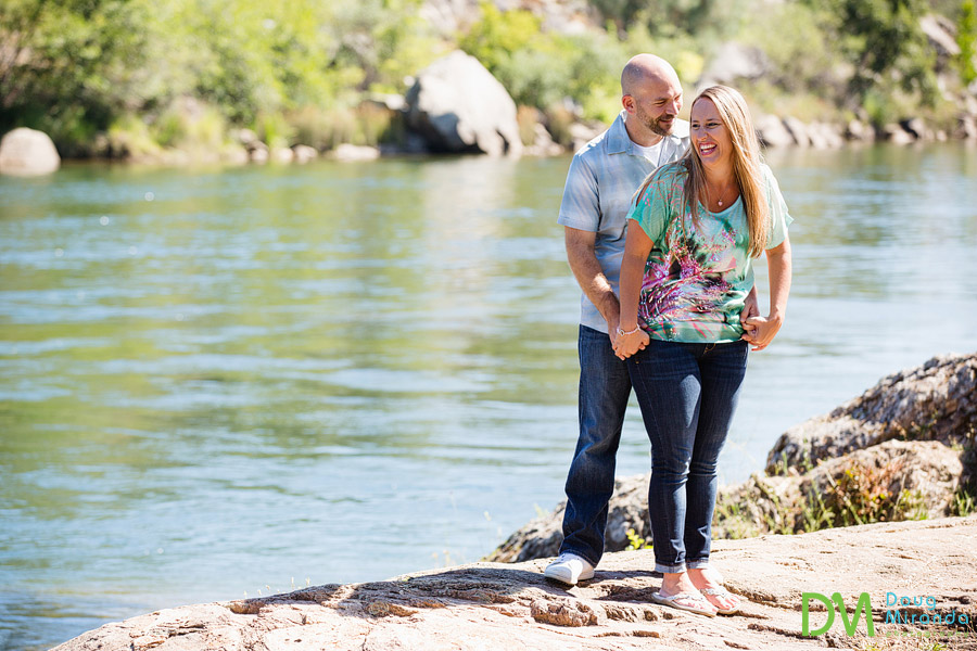 folsom lake engagement photos of alex and jessica cuddling