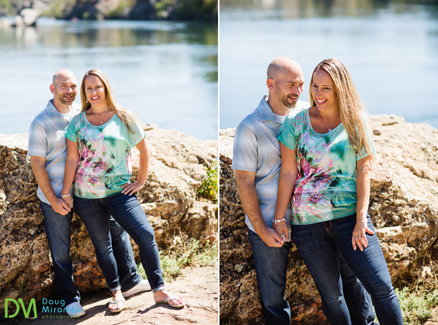old folsom engagement photos of jessica and alex laughing on top of rocks