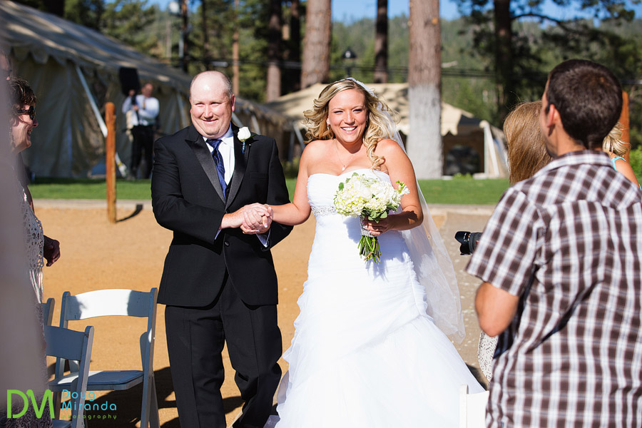 kelsey and walking down the aisle to her wedding ceremony in zephyr cove